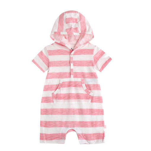 Pink Stripes Hooded Romper