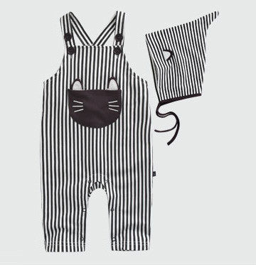Black Stripes Overall Jumpsuit With Bonnet
