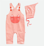 Orange Stripes Overall Jumpsuit With Hat