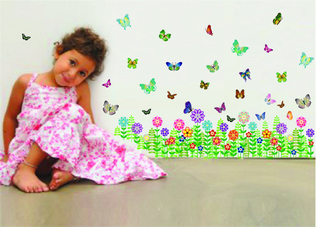 Colorful Butterflies and Flowers Wall Stickers - I Babyland