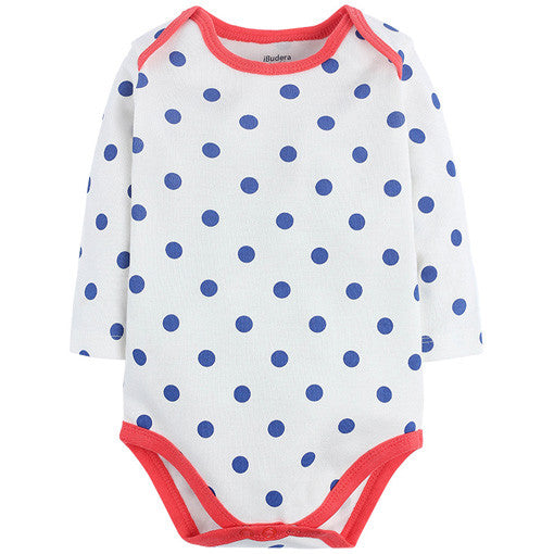 Blue Polka Dots Long Sleeve Bodysuit