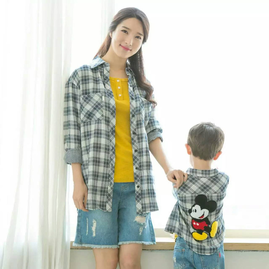 Checker Mickey Long Sleeve Shirt