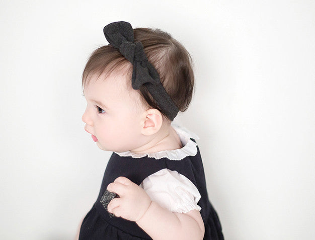Twisted Bow Knot Headband in Dark Grey