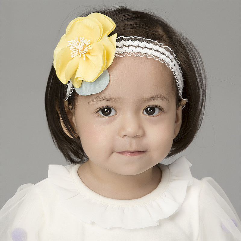 Floral Lace Headband (Yellow)