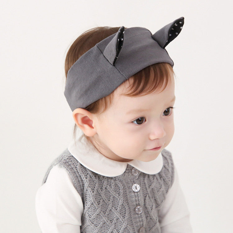 Polka Dots Kitty Ear Headwrap (Grey)