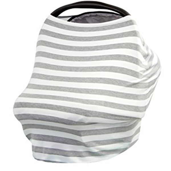 grey and white stripe baby seat cover