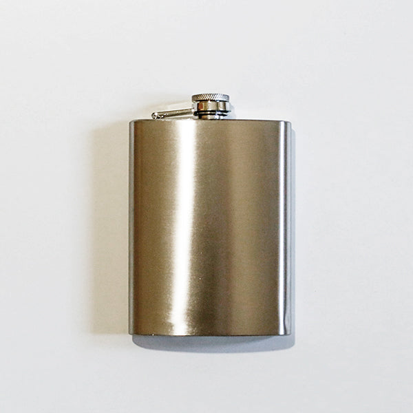 Brushed Silver Hip Flask