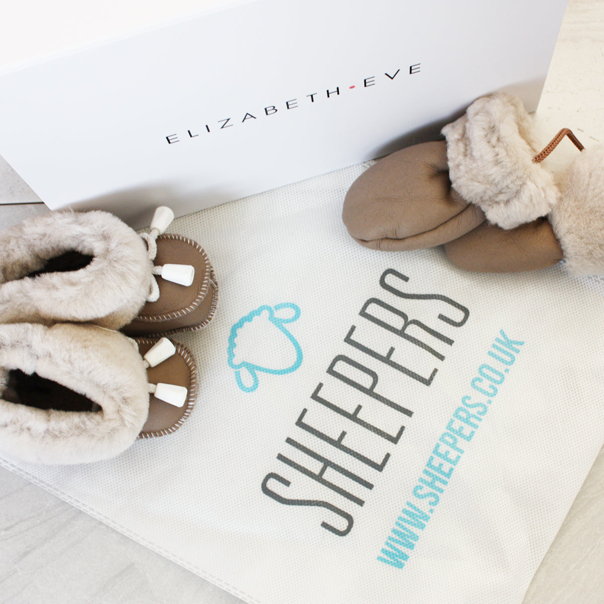 Tan Sheepskin Booties Set
