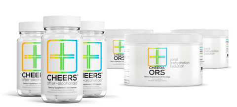 3 x After-Alcohol Aid™ (10 doses / 30 capsules) & 3 x ORS™ (20 doses / makes 20 water bottles)