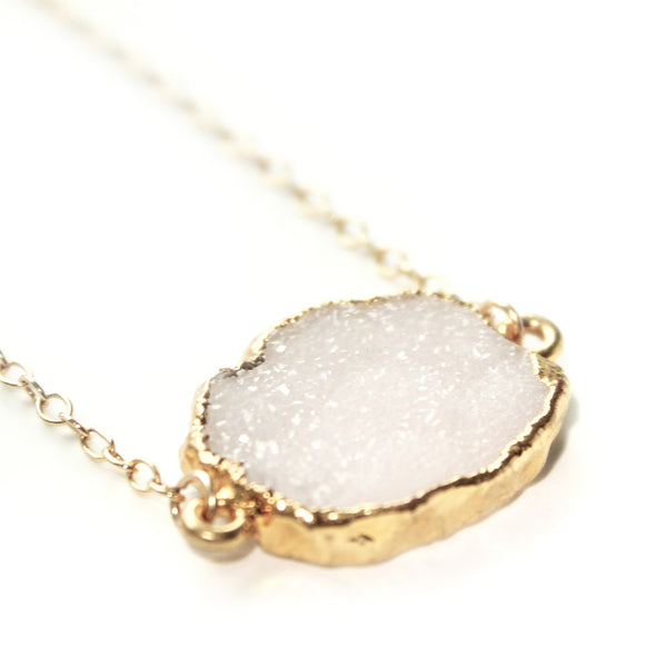 "EMMY TRINH JEWELRY - Pale druzy gold plated pendant necklace on 16"" gold fill chain"