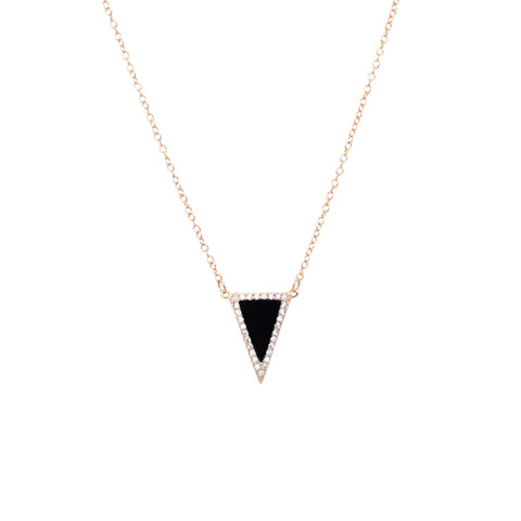 EMMY TRINH JEWELRY Bermuda Necklace - Black triangle Pave set CZ on gold plated sterling silver