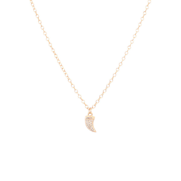 EMMY TRINH JEWELRY Tiny Tusk Necklace - Gold plated Sterling silver CZ Pave tusk