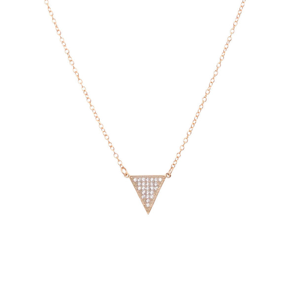 EMMY TRINH JEWELRY Apex Necklace - Gold plated Sterling silver CZ Pave triangle