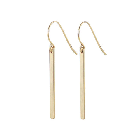 EMMY TRINH JEWELRY LINNEA medium gold filled bar drop earrings