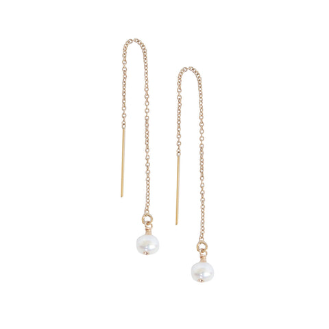 EMMY TRINH JEWELRY - ORBIT PEARL THREAD EARRINGS GOLD