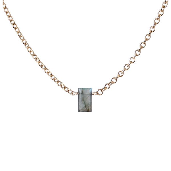 EMMY TRINH JEWELRY Parker - Labradorite baguette necklace Gold-filled