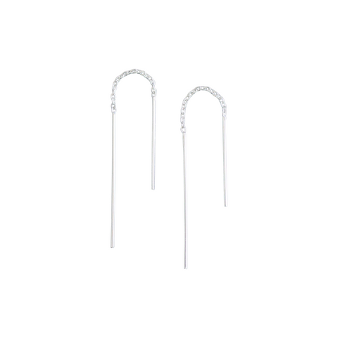 EMMY TRINH JEWELRY Pinnar Earrings - Sterling silver minimalist thread earrings