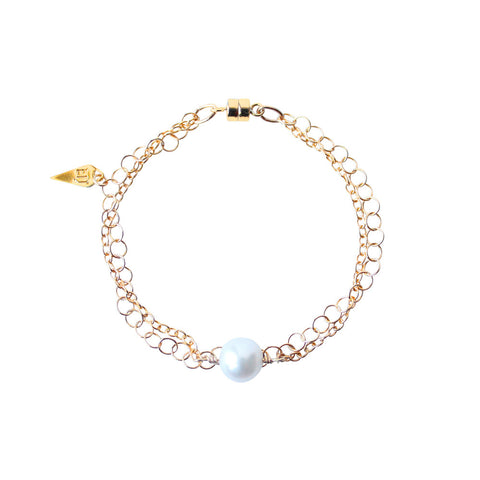 EMMY TRINH JEWELRY - STAX PEARL BRACELET GOLD FILLED