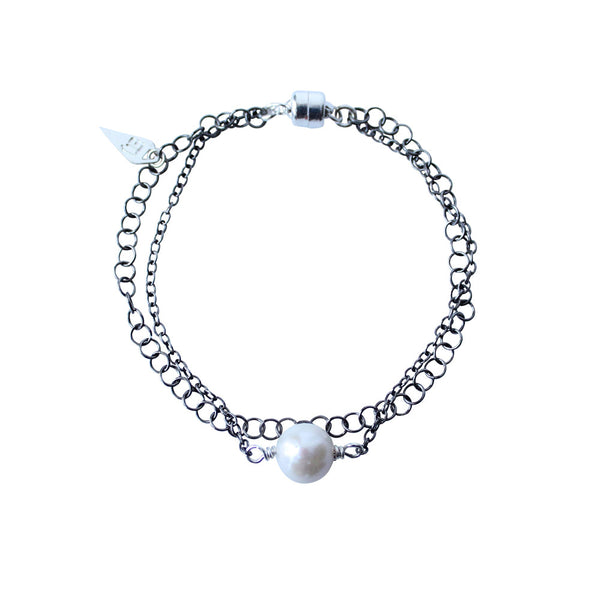 EMMY TRINH JEWELRY - STAX PEARL OXIDIZED AND RHODIUM PLATED SILVER BRACELET
