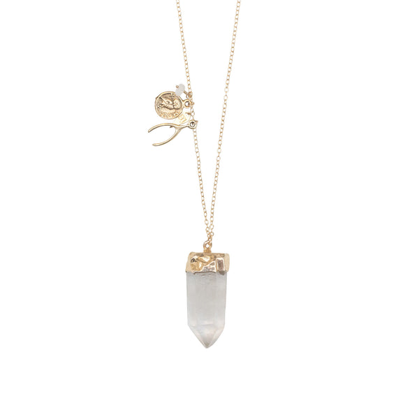 "EMMY TRINH JEWELRY - Gold dipped Quartz pendant with charms on 34"" gold fill chain"