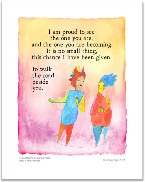 Walking Together Color Wash Prints