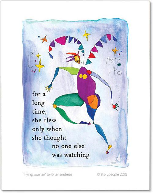 Flying Woman Color Wash Print from StoryPeople