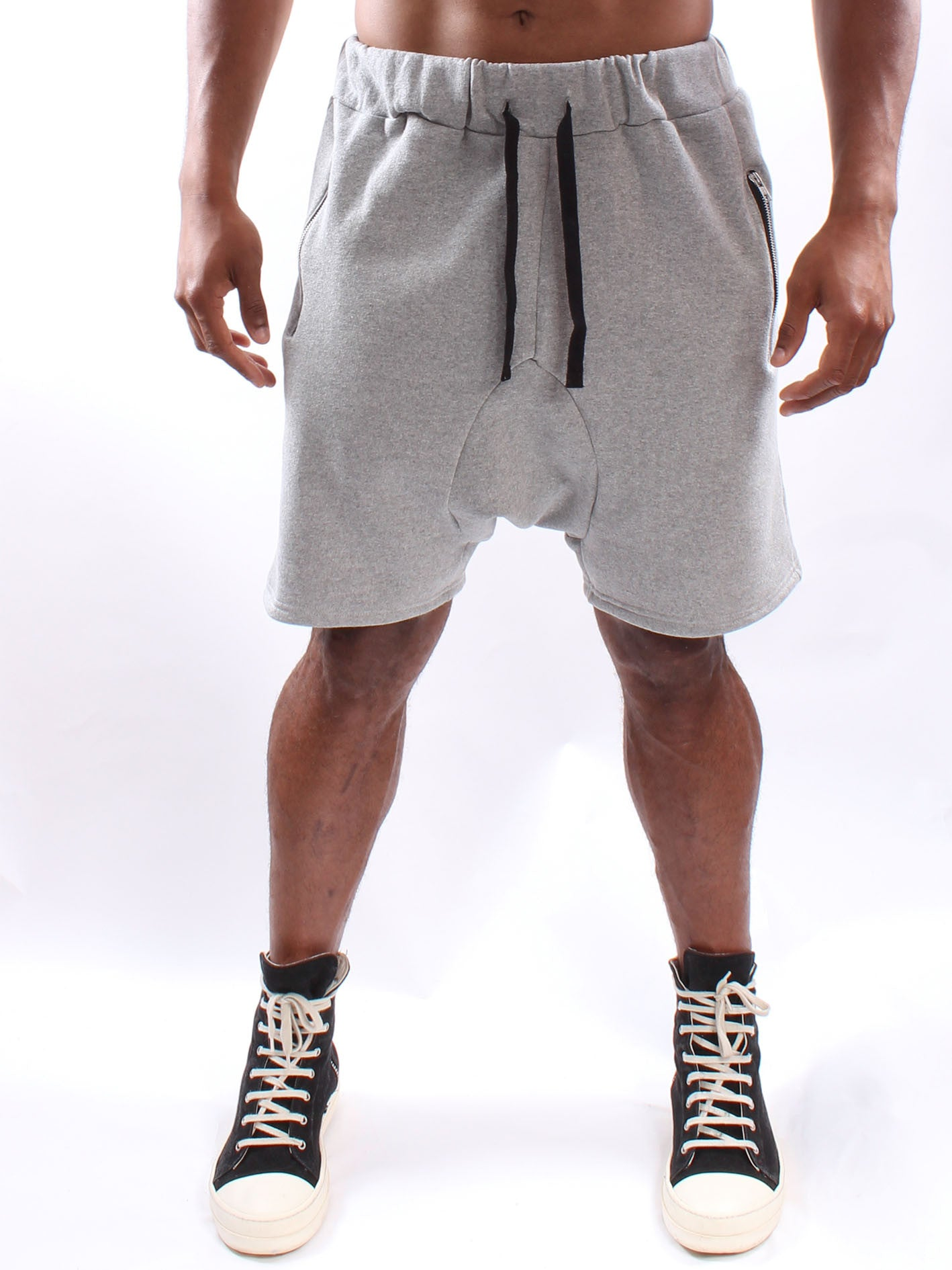 Grey Drop Croch Shorts
