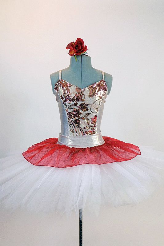 White platter tutu, has crimson glitter chiffon overlay White leotard has a front panel with gold & red sequined flower design. Comes with rose hair accessory.  Front
