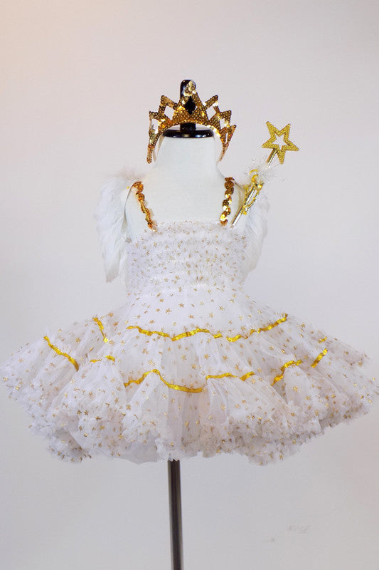 White tulle dress with  small gold stars &smocked bodice has detachable white feather wings, a gold star wand and a small gold tiara headpiece. Front