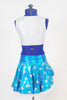 Turquoise sparkle skirt with silver polk-a-dots, white petticoat skirt & pink poodle.Separate pink panty and white half-top with matching turquoise bow accent. Back