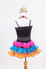 Black sequined &mesh leotard has crystal bow/band accents. Has colourful triple halter straps, pink-turquoise-orange organza ruffled skirt &matching headpiece. Back