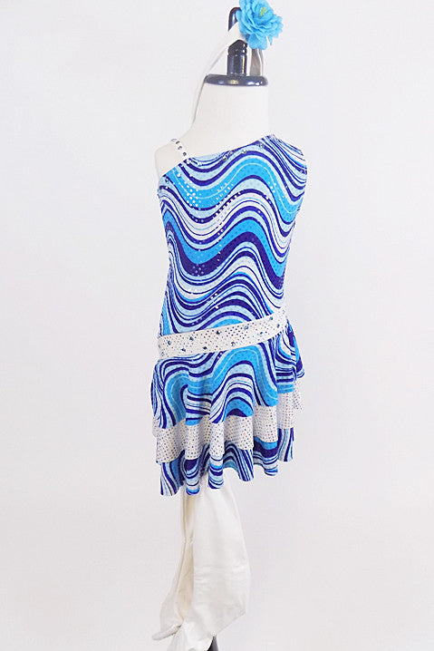 60s inspired go-go dress with groovy blue wave pattern and crystalled waistband,  comes with faux leather go-go boot covers and blue floral hair accessory. Front