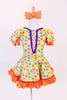 Yellow bodysuit with coloured polk-a-dots,purple sequin trim & mesh insert with crystals, has matching skirt with  petticoat & orange crystal bow hair piece.Front