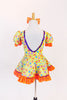 Yellow bodysuit with coloured polk-a-dots,purple sequin trim & mesh insert with crystals, has matching skirt with  petticoat & orange crystal bow hair piece.Back