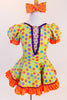 Yellow bodysuit with coloured polk-a-dots,purple sequin trim & mesh insert with crystals, has matching skirt with  petticoat & orange crystal bow hair piece.Front zoom