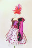 A-line dress has magenta bodice & matching polk-a-dot bottom.Crystals on front & back .Has gloves with pearls & marabou trim, & decorated, feather head piece. Side