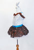 Silver leotard with brown sequined ruffle accent, has matching brown skirt with white ruffled petticoat. comes with an ornamental Chocolate Kiss hair piece. Side