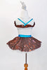 Silver leotard with brown sequined ruffle accent, has matching brown skirt with white ruffled petticoat. comes with an ornamental Chocolate Kiss hair piece. Back