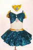 Teal sequined  Princess Jasmine has drop shoulder with large jeweled broach. Skirt has petticoat with gold waistband &jewel. includes panty & gold head piece. Front zoom