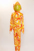 Orange, yellow and white swirled unitard with a large sequined bow and a long 3D tail on the behind.  with a Hood has sequined ears. Front