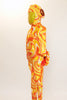 Orange, yellow and white swirled unitard with a large sequined bow and a long 3D tail on the behind.  with a Hood has sequined ears. Side