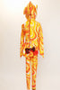 Orange, yellow and white swirled unitard with a large sequined bow and a long 3D tail on the behind.  with a Hood has sequined ears. Back