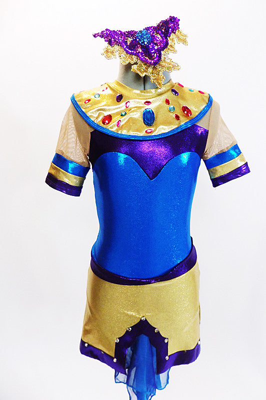 Egyptian inspired tunic dress with built in shorts is metallic blue, purple and gold and is accented with crystals and coloured jewel accents on the collar. Front