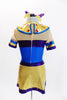 Egyptian inspired tunic dress with built in shorts is metallic blue, purple and gold and is accented with crystals and coloured jewel accents on the collar. Back