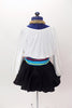 White leotard with blouson sleeves has as a matching black skirt with tulle petticoat.Comes with a striped sash and a matching  head scarf with  hoop earrings. Back
