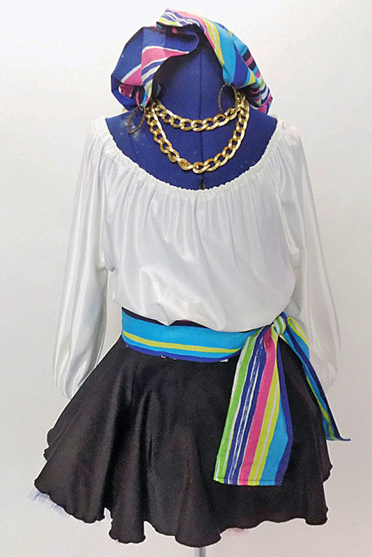 White leotard with blouson sleeves has as a matching black skirt with tulle petticoat.Comes with a striped sash and a matching  head scarf with  hoop earrings. Front zoom