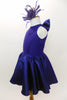 Violet blue, fully lined Lycra, keyhole back leotard dress with bow accent has stretch sateen full skirt with crisp tulle petticoat and matching hair accessory. Side