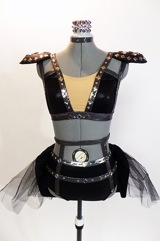 Black half-top has charcoal metallic accent & black leather epaulettes with large jewel accents.There is a matching pair of shorts with bustle & hair accessory.Front