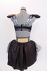 Black half-top has charcoal metallic accent & black leather epaulettes with large jewel accents.There is a matching pair of shorts with bustle & hair accessory. Back