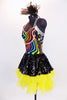 Rainbow swirled patterned leotard with yellow bottom and silver straps, has an attached skirt of ruffled, layered yellow tulle with a black sequined overlay. Side